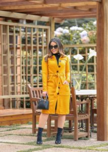 Sobretudo Helise Mostarda  - Moda Feminina