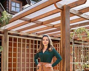 Body Catarina Verde Viscolaycra - Moda Feminina