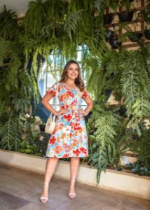 Vestido Amanda em Linho Floral Vermelho - Moda Feminina