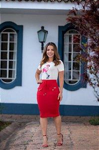 Saia Olivia em Moletinho Vermelha  - Moda Feminina