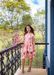 Vestido Leticia Floral Salmão - Moda Feminina