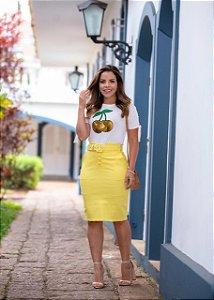 Saia Luiza Amarela - Moda Feminina