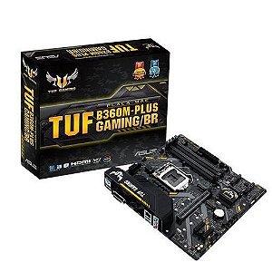 M1151 - Placa Mãe LGA1151 Asus TUF B360M-PLUS GAMING/BR DDR4 ( 4x DDR4 / 1x PCIe 2.0 x16 / 2x PCIe 2.0 x1 / 1x M.2 / 2x USB 3.1 / 2x USB 2.0 / 1x HDMI / 1x DVI-D / 1x PS2 )