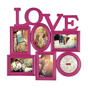 Painel Porta Retrato Love 6 Fotos - Rosa