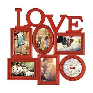Painel Porta Retrato Love 6 Fotos - Vermelho