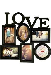Painel Porta Retrato Love 6 Fotos - Preto
