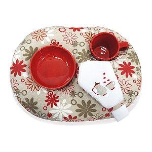 Kit Chá Bege e Vermelho - Flores