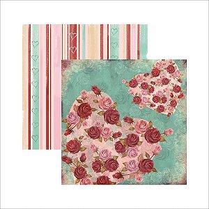 Folha de Scrapbook Cupido, Rosas e Coração