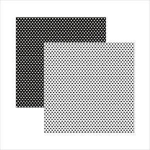 Folha de Scrapbook Coração - Preto e Branco
