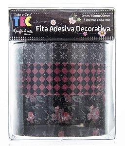 Conjunto Fita Adesiva Washi Tape Rosas Fundo Preto
