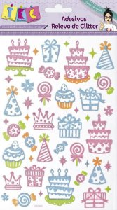 Adesivo Relevo de Glitter - Aniversário