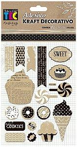 Adesivo Kraft Decorativo - Doces