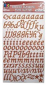 Adesivo Alfabeto Minúsculo Puro Glitter Marrom