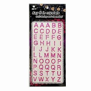 Adesivos Letras com Strass Rosa Escuro