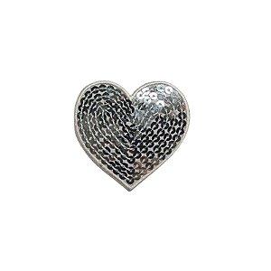 Patch Coração com Paetê Prata