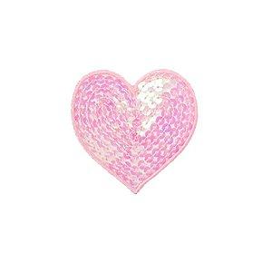 Patch Coração com Paetê Rosa