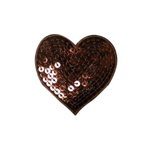 Patch Coração com Paetê Marrom