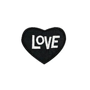 Patch Coração Love Preto
