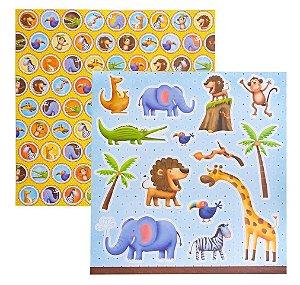 Folha de Scrapbook Zoológico Botons