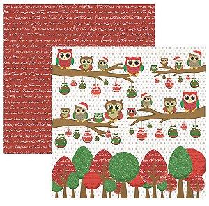Folha de Scrapbook Natal Corujas Àrvore