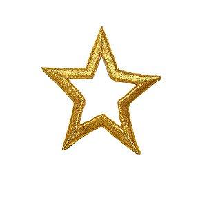 Patch Estrela com Meio Vazado Dourada