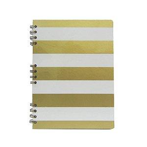 Caderno Listras Brancas e Douradas