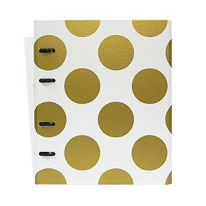 Caderno Fichário Bolas Branco e Dourado