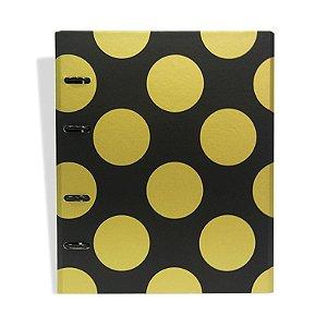 Caderno Fichário Bola Preto e Dourado