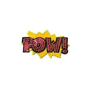 Patch Pow com Paetê Amarelo