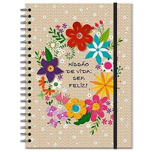 Caderno Estampado Flora 200 folhas