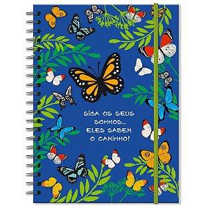 Caderno Estampado Borboletas 200 folhas