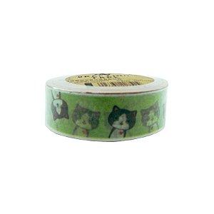 Fita Adesiva Washi Tape Gatinhos Verde Limão