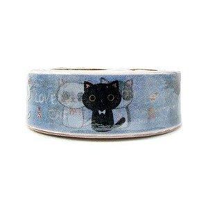 Fita Adesiva Washi Tape Gatinhos Azul