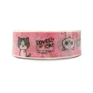 Fita Adesiva Washi Tape Gatinhos Rosa