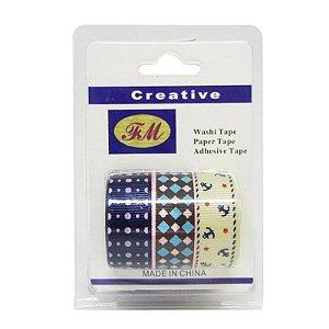 Conjunto Fita Adesiva Washi Tape Geométrica