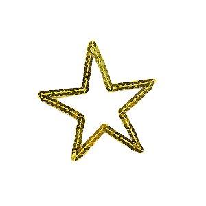 Patch Estrela com Meio Vazado Dourada Paetê
