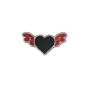 Patch Coração Preto com Asas