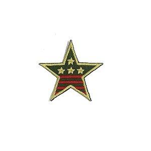 Patch Estrela Militar Verde com Bege