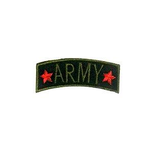 Patch Army 2 Estrelas Preto com Verde