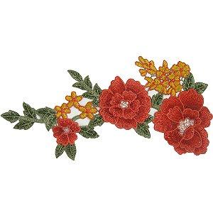 Patch Flores Vermelhas Bordada Para Baixo