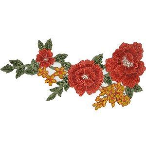 Patch Flores Vermelhas Bordada Para Cima