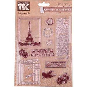 Carimbo de Silicone - Paris com Texto