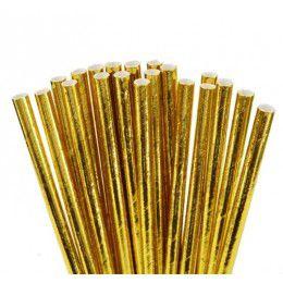 Canudo de Papel Dourado Metalizado 20 Unidades