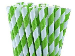 Canudo de Papel Listras Verde 20 Unidades