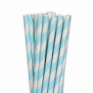 Canudo de Papel Listras Azul 20 Unidades