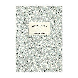 Caderno Brochura com Pauta Floral Azul