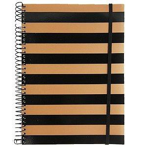 Caderno Universitário 96 Folhas listras Preto Ouro