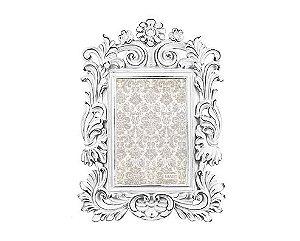 Porta Retrato Branco em Poliresina Flor