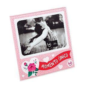 Porta-Retrato Rosa e Coração Momento Único