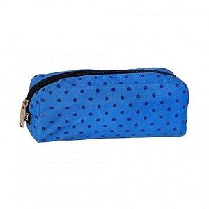 Estojo de Nylon Estampado Azul com Bolinhas